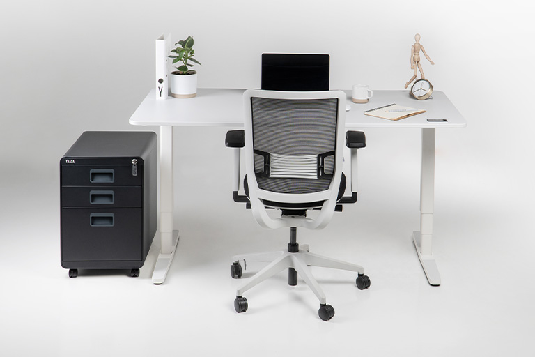 The Yaasa File Cabinet and Cable Management are the perfect addition to your Desk and Chair.